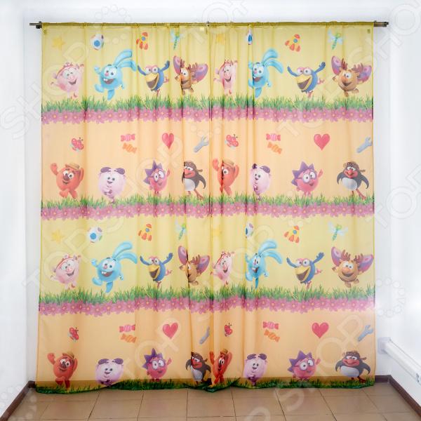 фото Комплект тюля детского Сирень «Смешарики весной», Портьеры для детской комнаты