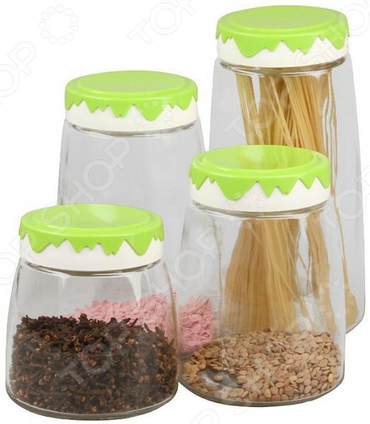 Набор банок для хранения сыпучих продуктов Pomi d'Oro PGL-575002 набор посуды для готовки pomi d oro terracotta conveniente set