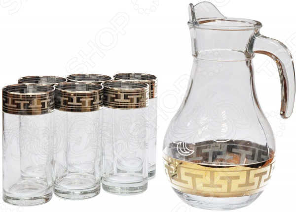 Набор: кувшин и 6 стаканов Гусь Хрустальный «Греческий Узор» набор кувшин и 6 стаканов гусь хрустальный русский узор