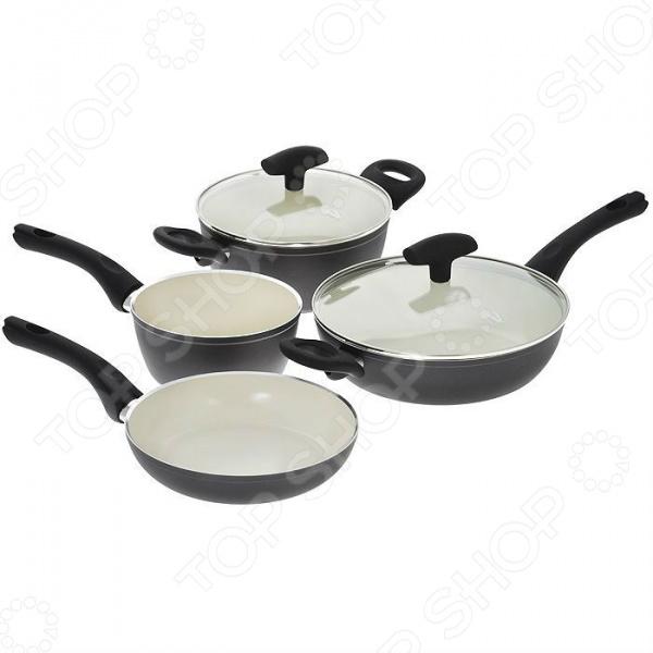 Набор кухонной посуды c внутренним керамическим покрытием Vitesse «Black–and–White» VS-2902 vitesse black–and–white vs 2902