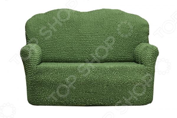 Натяжной чехол на двухместный диван Еврочехол «Микрофибра. Зеленый»