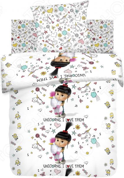 Детский комплект постельного белья Непоседа Миньоны «Агнес с единорогом»