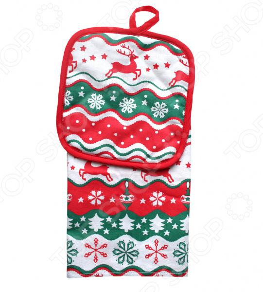 Набор кухонный подарочный: полотенце и прихватка BONITA «Новогодний базар» пошел козел на базар