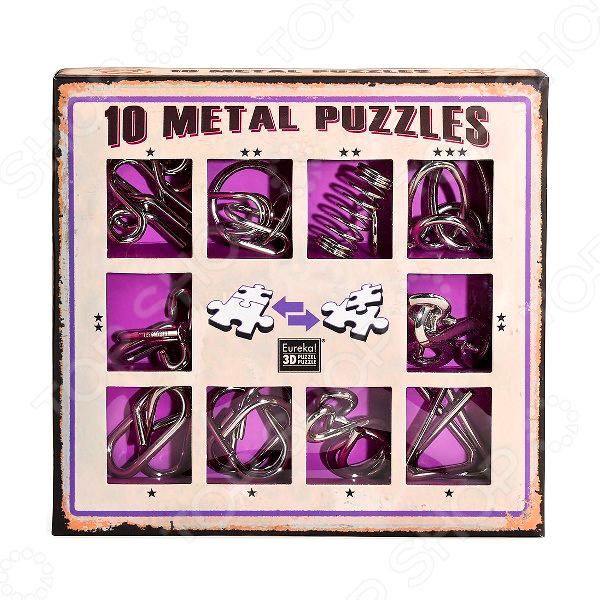 Набор головоломок Эврика 10 Metal Puzzles purple set