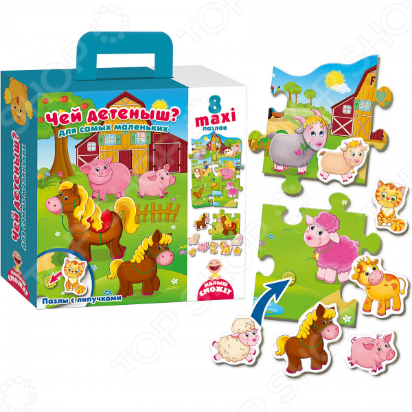 Пазл для малышей Vladi Toys с липучками «Чей малыш?» vladi toys пазл для малышей первобытная маша