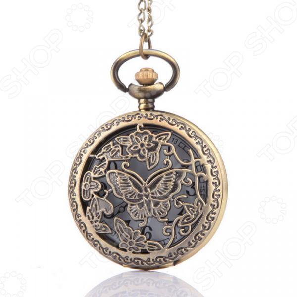 Кулон-часы Mitya Veselkov «Бабочка среди цветов (мини)»