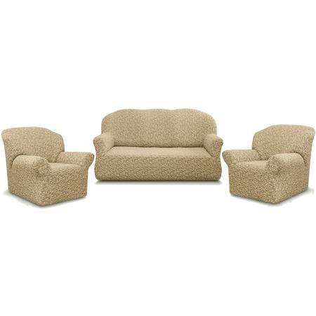 Купить Натяжной чехол на трехместный диван и чехлы на 2 кресла Karbeltex «Престиж» 10034