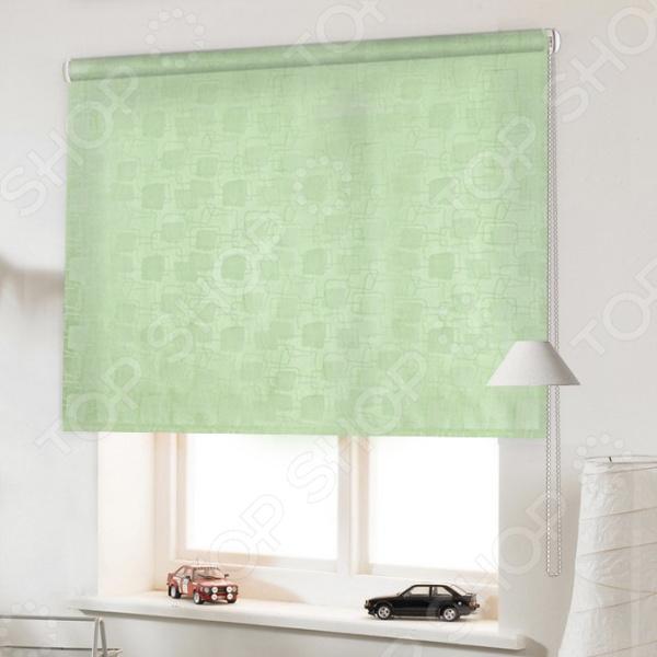 Рулонная штора Эскар «Эдем». Цвет: светло-зеленый