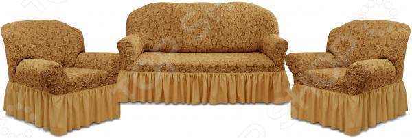 Zakazat.ru: Натяжной чехол на трехместный диван и чехлы на 2 кресла Karbeltex «Престиж» 10096 с оборкой