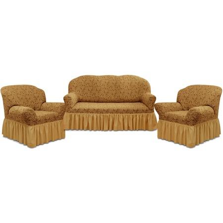 Купить Натяжной чехол на трехместный диван и чехлы на 2 кресла Karbeltex «Престиж» 10096 с оборкой
