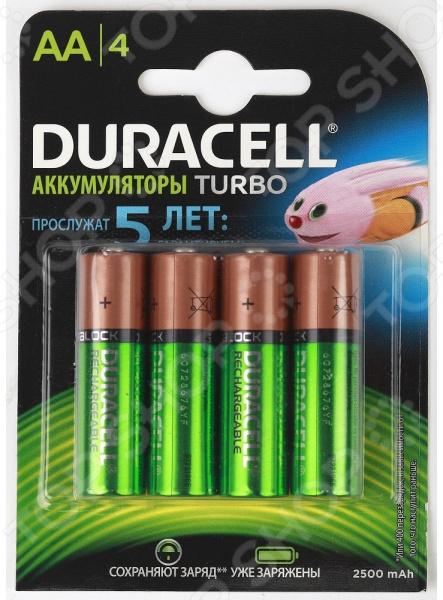 Набор батареек аккумуляторных Duracell HR6-4BL аккумулятор duracell hr6 2bl aa nimh 2400 мач 2 шт