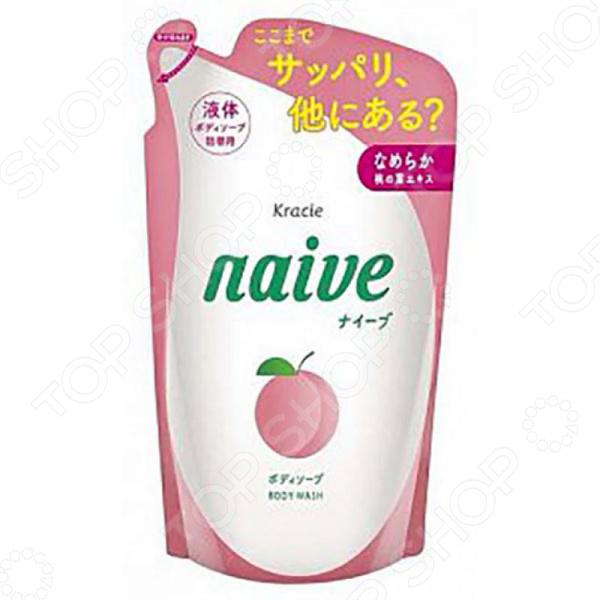 Запасной блок с жидким мылом для тела Kracie Naive с экстрактом персика краци найв кондиционер для волос с экстрактом алоэ 400мл запасной блок