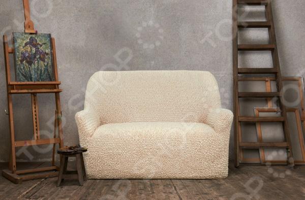 Натяжной чехол на двухместный диван Еврочехол «Микрофибра. Ваниль» 1