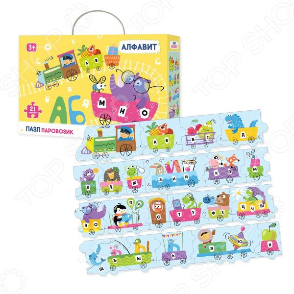 Пазл 21 элемент Vladi Toys «Алфавит. Паровозик» развивающий набор магнитный алфавит м 01