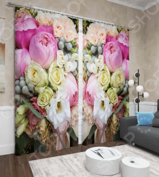 Фото - Фотошторы Сирень «Пионы и розы» розы и пионы