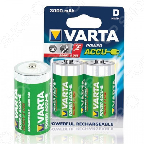 Батарея аккумуляторная VARTA D R2U 3000 мАч 2 шт.