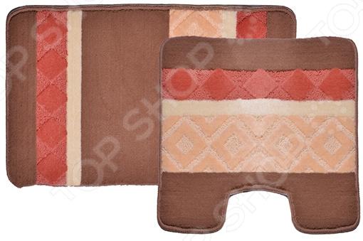 Комплект ковриков для ванной и туалета Dasch «Ромбы» комплект ковриков для ванной и туалета vortex berlin 21085