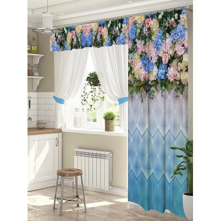 Купить Комплект штор для окна с балконом ТамиТекс «Бонжур». Цвет: голубой