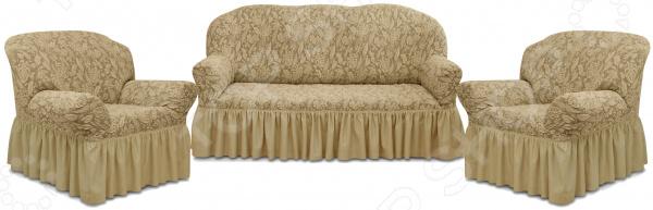 Натяжной чехол на трехместный диван и чехлы на 2 кресла Karbeltex «Престиж» 10049 с оборкой
