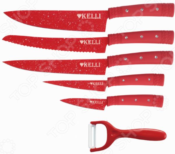 Набор ножей Kelli KL-2133 держатель для нарезки овощей libra plast