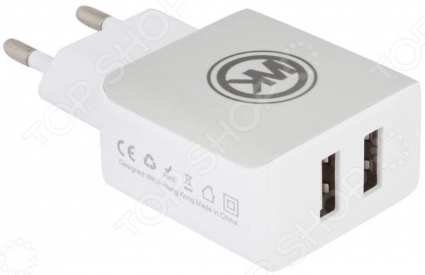 Устройство зарядное сетевое WK Blanc 2U WP-U11 Apple 8 pin сетевое зарядное устройство wk blanc 2u wp u11 2 usb 2 1а кабель micro usb 0l 00035293 black