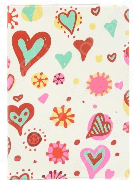Обложка для паспорта кожаная Mitya Veselkov «Цветные сердечки» обложка для паспорта кожаная mitya veselkov ежик с веточкой