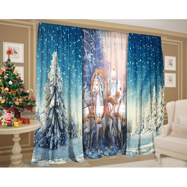 фото Комплект: шторы и тюль ТамиТекс «Дед Мороз на тройке»