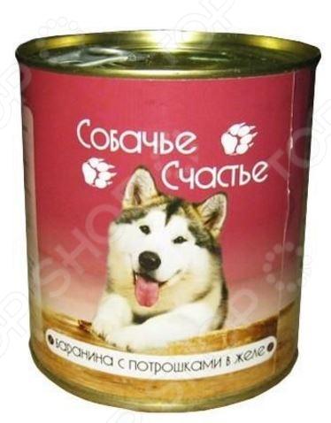 Корм консервированный для собак Собачье Счастье Баранина с потрошками в желе полноценное и сбалансированное питание для вашего питомца. Рацион изготовлен из отборных ингредиентов и обогащен всеми необходимыми витаминами и минералами. Он полностью удовлетворяет потребность животных в энергии и легкоусвояемом белке. Корм не содержит в своем составе сои, консервантов, красителей, ароматизаторов и ГМО. Входящая в состав рациона, баранина, является природным источником протеина, витаминов группы В, кальция, фосфора и йода:  протеин является строительным компонентом мышечной ткани, благотворно влияет на развитие мозга;  витамины группы В положительно влияют на обменные процессы в организме белковый, углеводный и жировой ;  кальций и фосфор способствует укреплению костной и хрящевой ткани, препятствует развитию кожных заболеваний;  йод способствует профилактике заболеваний щитовидной железы. Состав: баранина, субпродукты, натуральная желирующая добавка, злаки не более 2 , соль, вода. Пищевая ценность: протеин 8 , жир 7 , углеводы 4 , зола 2 , клетчатка 1 , влажность 80 . Суточная норма: 25-35 грамм на 1 кг веса животного.