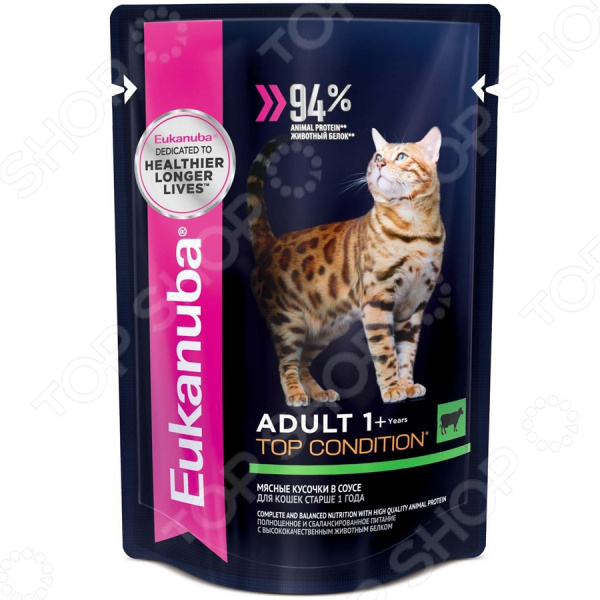 Корм влажный для кошек Eukanuba Adult Top Condition с говядиной в соусе