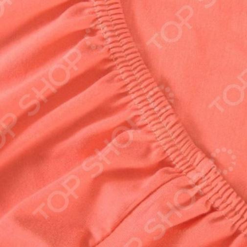 Простыня на резинке Хлопковый Край трикотажная. Цвет: коралловый