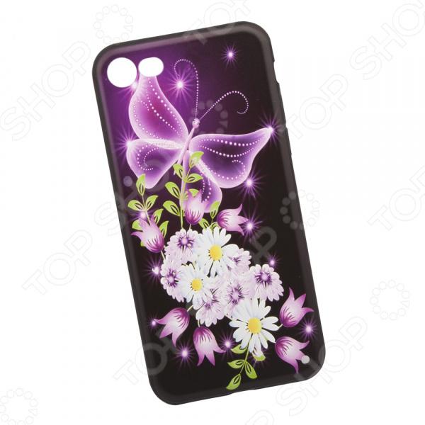 Чехол с защитным стеклом для iPhone 7/8 «Неоновая бабочка с цветами»
