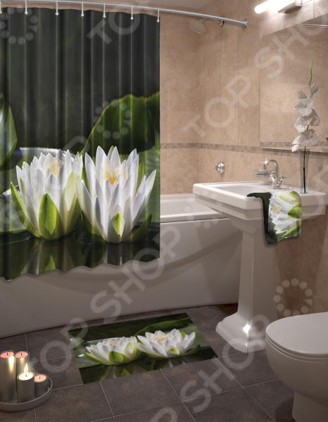 Набор для ванной комнаты: шторка и коврик ТамиТекс «Лотос»