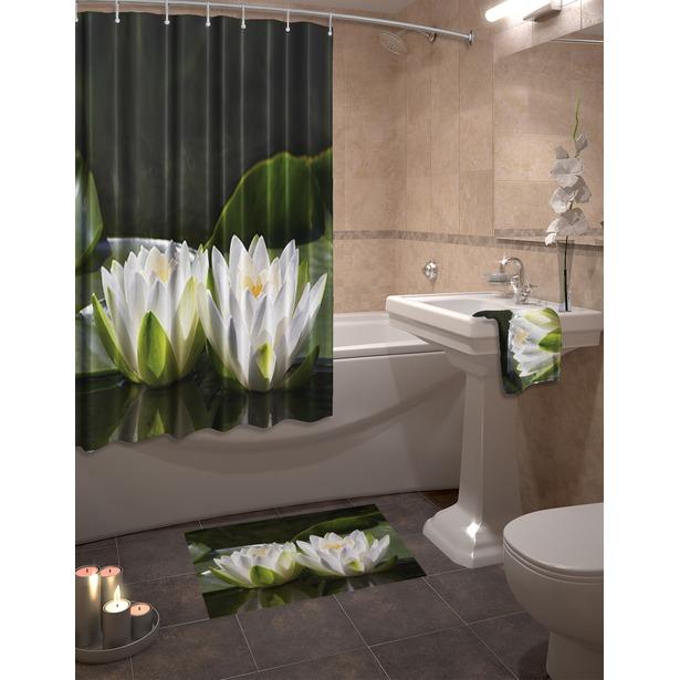 фото Набор для ванной комнаты: шторка и коврик ТамиТекс «Лотос»