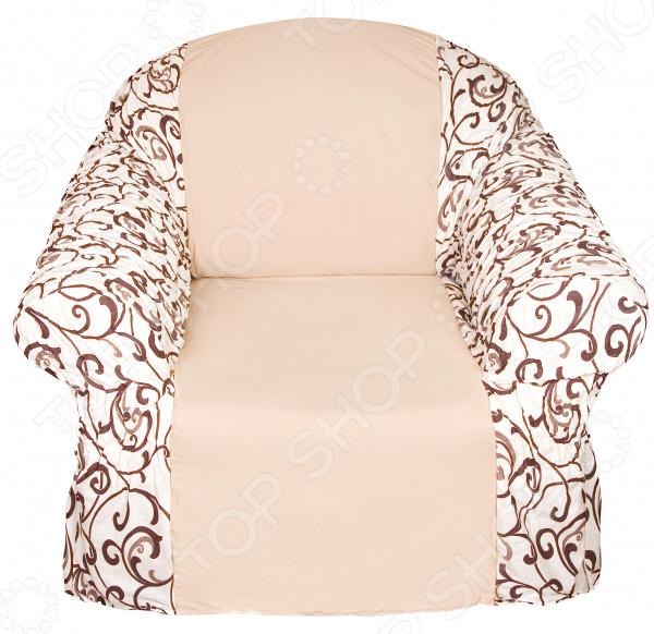 Натяжной чехол на кресло Медежда «Бостон» чехол на мебель медежда чехол на стул с юбкой иден коричневый