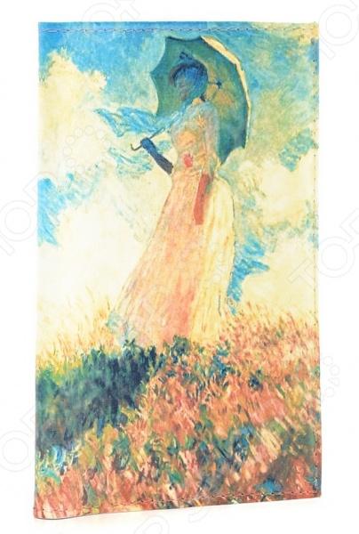 Обложка для автодокументов кожаная Mitya Veselkov «Клод Моне. Дама с зонтиком» картина из кожи дама с зонтиком моне коллекция elole interior синий сплошн холст прямоуг рама