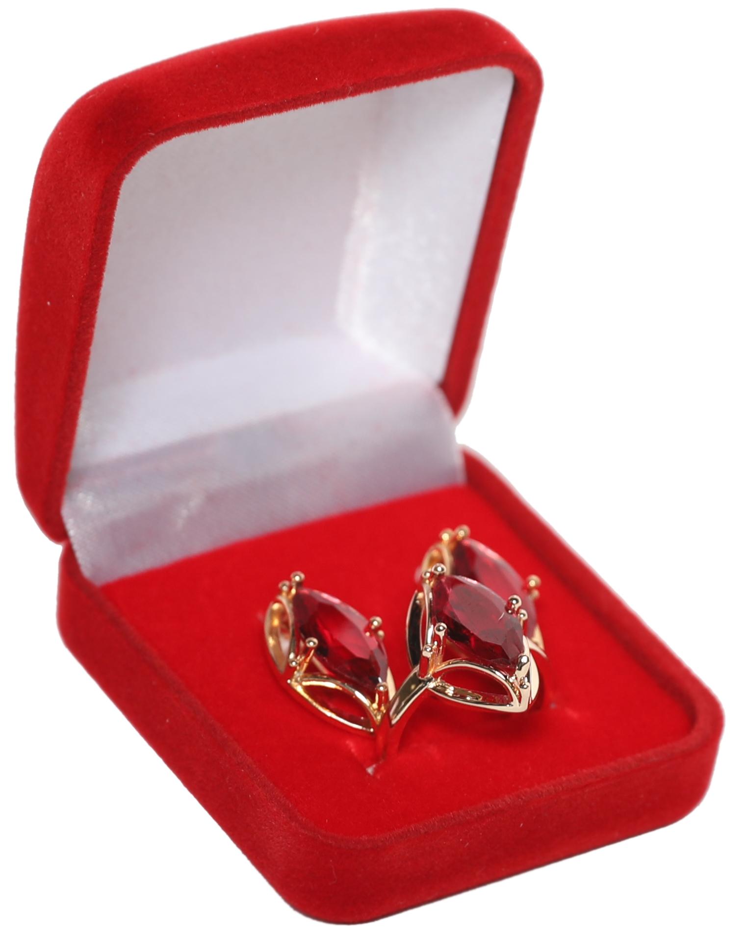 Подарочный комплект украшений «Золотой век». Цвет: рубиновый