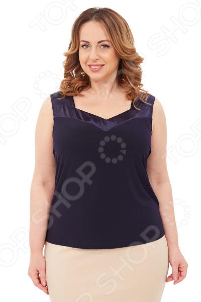 Топ Pretty Woman Облачный Атлас это необходимая деталь в создании элегантного весенне-летнего образа. Его полуприталенный силуэт идеально подойдет для любой фигуры. Особенно хорошо этот топ будет смотреться в сочетании с легкой накидкой, а также с брюками, юбками и джинсами.  Топ полуприлегающего силуэта без рукавов.  Оригинальный вырез горловины со вставкой из атласной ткани визуально удлиняет шею.  Длина на уровне бедер.  Ткань хорошо тянется.  На фотографии модель представлена в сочетании с юбкой Венера . Топ сшит из приятной ткани, состоящей на 50 из вискозы и на 50 из полиэстера. Материал не линяет, не скатывается, формы от стирки не теряет.