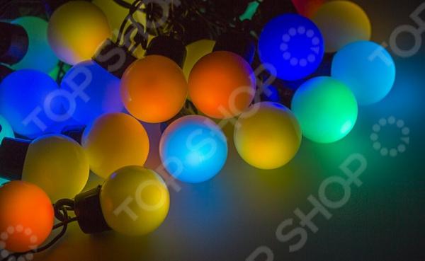 Гирлянда светодиодная Neon-Night «Мультишарики». Цвет: темно-зеленый гирлянда neon night мультишарики d 13мм 20м черный пвх 200led rgb 303 509 1