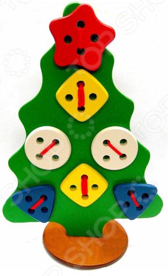 Игрушка развивающая для малыша RNToys на подставке «Шнуровка. Елка геометрическая» игрушка