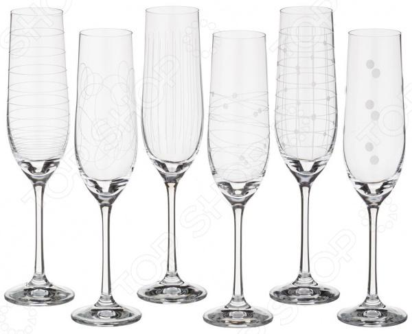 Набор бокалов для шампанского Bohemia Crystal «Виола» 674-322 bohemia crystal набор бокалов для шампанского felina 25 см 2 шт