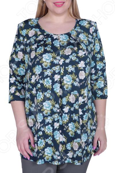 Блуза Лауме-Лайн «Цветочное настроение». Цвет: бирюзовый цена 2017