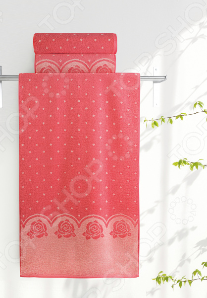 Полотенце махровое Aquarelle «Розы вид 3». Цвет: персиковый, коралл