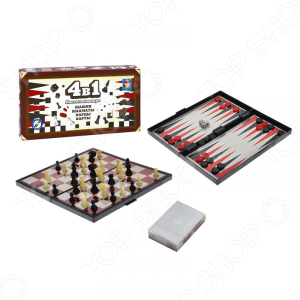 Игра настольная 4 в 1 1 Toy «Шашки/шахматы/нарды/карты» настольная игра нарды шахматы нарды малые деревянные в ассортименте в 1