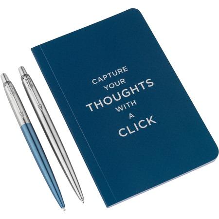 Купить Набор подарочный: ручки шариковые и блокнот Parker Jotter Core Stainless Steel CT and Waterloo Blue