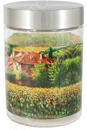 Банка для сыпучих продуктов Sinoglass «Подсолнухи Тосканы малая»