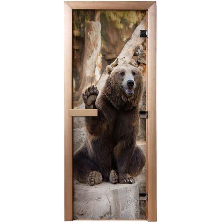 Купить Дверь для бани с фотопечатью Банные штучки «Бурый медведь» 32677