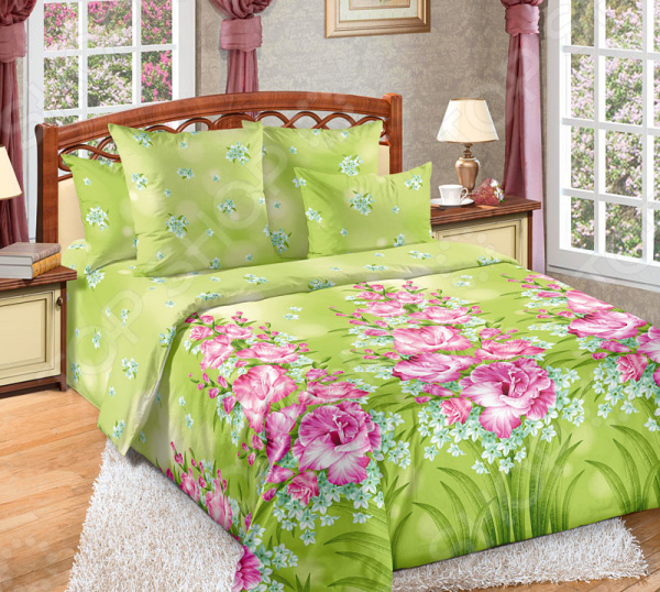 Комплект постельного белья Королевское Искушение «Утренняя роса». Цвет: салатовый комплекты белья linse комплект белья