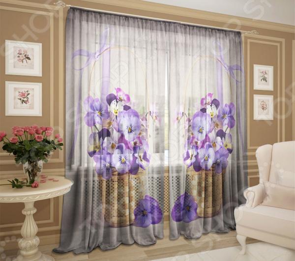 Комплект фототюля ТамиТекс «Корзинка цветов»