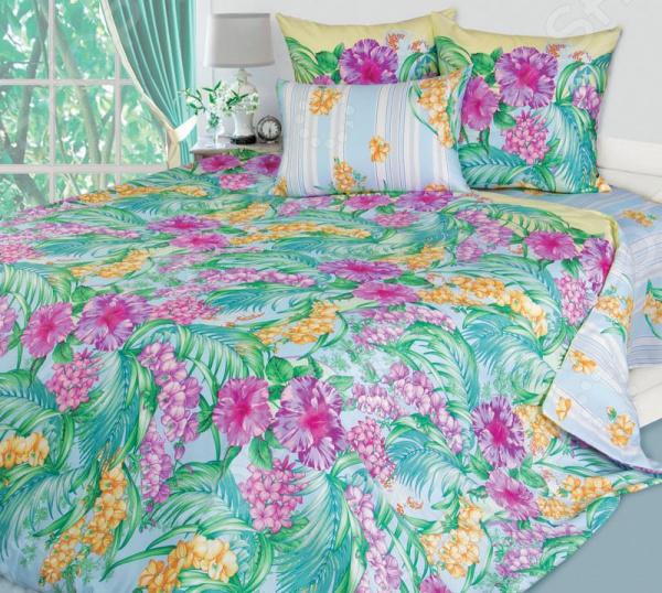 цена Комплект постельного белья Королевское Искушение «Таинственный остров». Цвет: голубой онлайн в 2017 году