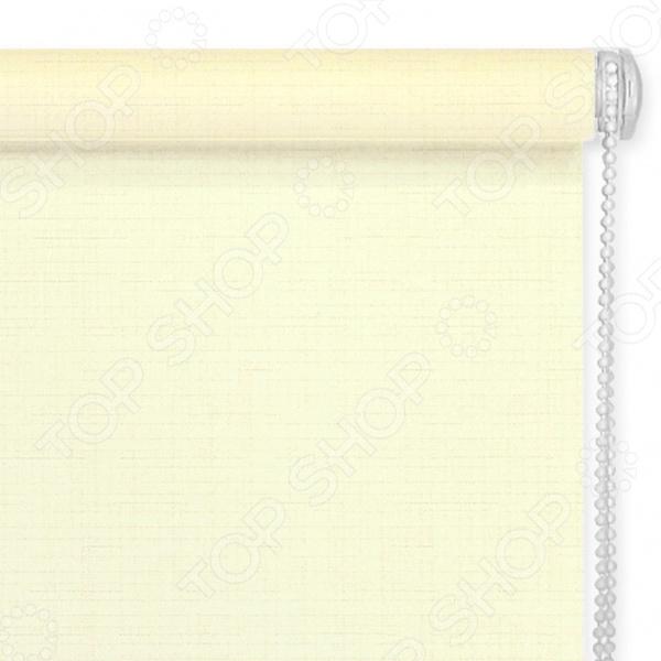 Рулонная штора Эскар однотонная. Цвет: светло-лимонный